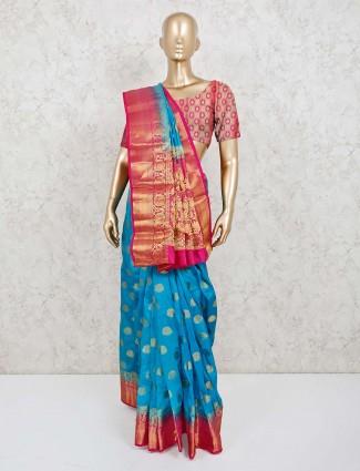 Aqua zari weaving cotton silk saree