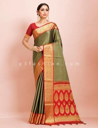 Art kanjivaram olive and red traditional wear printed designer saree