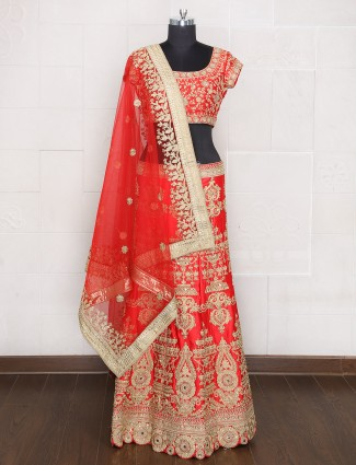 Attractive designer unstitched red lehenga choli