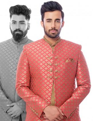 Attractive magenta beige silk wedding wear indo western
