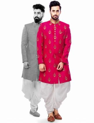 Attractive magenta silk wedding wear indo western