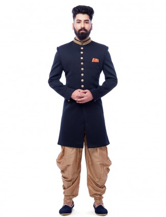 Attractive navy wedding wear indo western