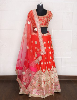 Attractive red and pink hue unstitched lehenga choli