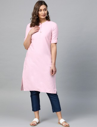 Aurelia baby pink cotton chinese neck kurti