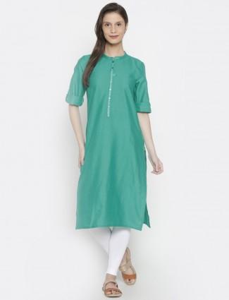 AURELIA plain green cotton kurti