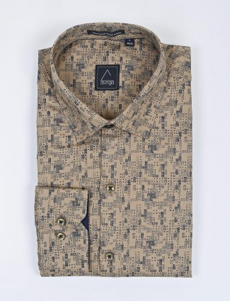 Avega beige cotton fabric printed shirt