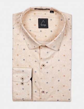 Avega beige printed cotton fabric mens shirt