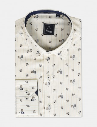 Avega checks with printed cream hue shirt