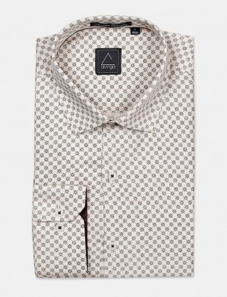 Avega formal function beige printed shirt