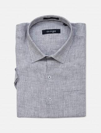 Avega formal wear grey checks pattern linen shirt