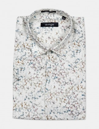 Avega linen fabric cream printed mens shirt