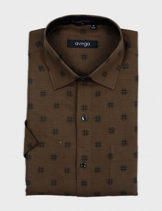 Avega olive printed formal shirt