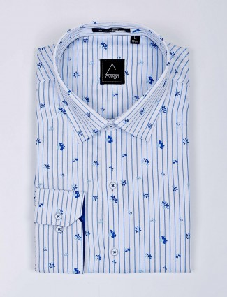 Avega white stripe pattern formal shirt