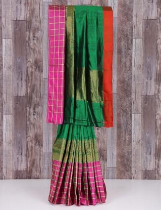 Awesome green designer silk designer saree