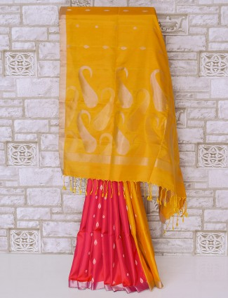Awesome yellow and red color silk saree