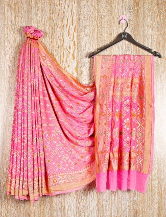 Baby pink bandhej reception wear saree