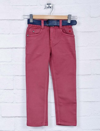 Bad Boys maroon slim fit boys jeans