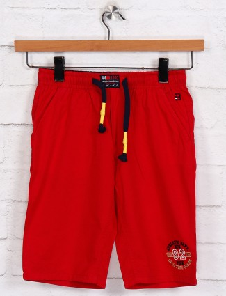 Bad Boys red slim fit solid short