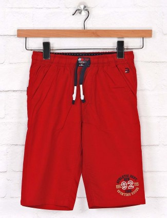 Bad Boys solid cotton red short