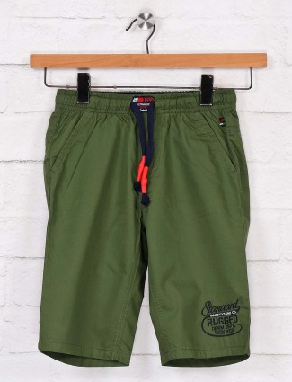Bad Boys solid green cotton short