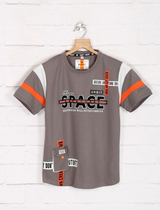 Bambini grey casual wear printed t-shirt