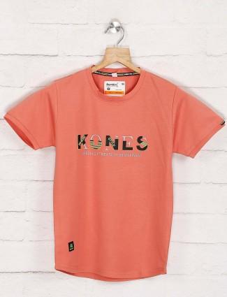 Bambini peach printed round neck t-shirt
