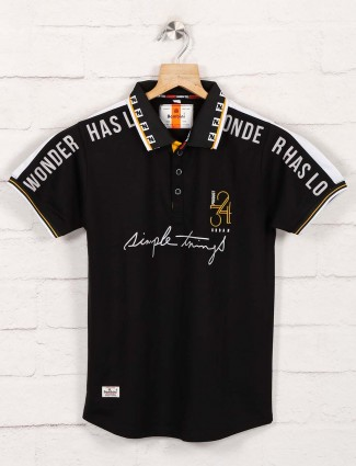 Bambini polo printed black t-shirt
