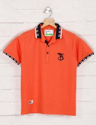 Bambini solid peach cotton t-shirt