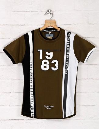 Bambini stripe olive cotton t-shirt