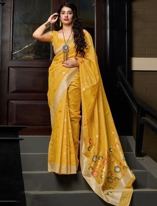 Banarasi cotton silk gold wedding saree