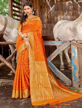 Banarasi printed saree in orange for wedding