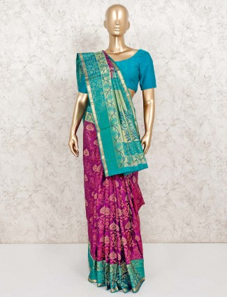 Banarasi pure silk purple wedding saree