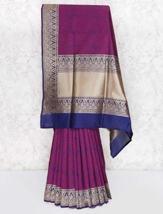 Banarasi semi silk saree in purple color