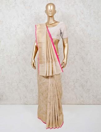 Banarasi silk beige wedding occasion saree
