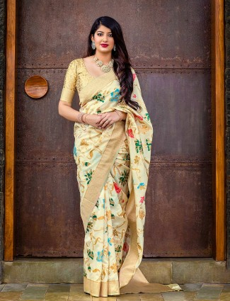 Banarasi silk fabric cream color saree