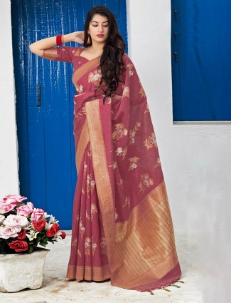 Banarasi silk maroon wedding saree