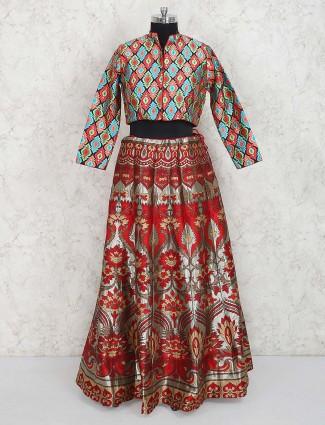 Banarasi silk party wear maroon lehenga choli