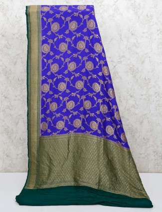 Banarasi silk wedding royal blue saree