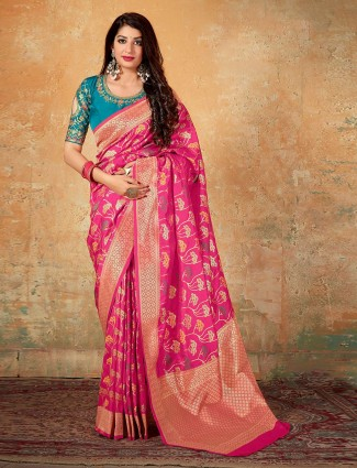 Banarasi silk wedding wear pink saree