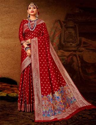 Banarasi silk wedding wear saree in maroon