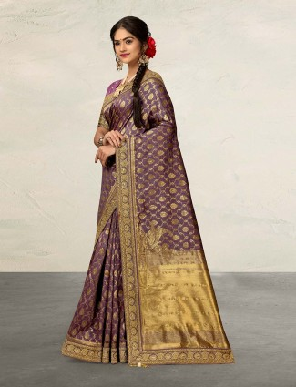 Banarasi violet wedding saree