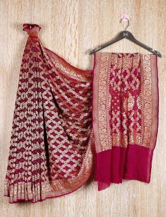 Bandhani wedding saree in dark pink