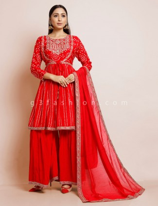 Bandhej cotton sharara suit in red color