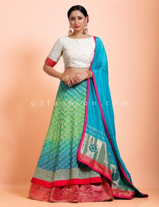 Bandhej green white wedding semi stitched choli suit