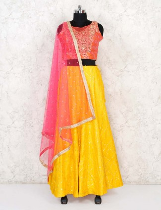 Bandhej silk wedding yellow lehenga choli