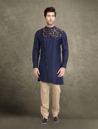 Bandhgala collar navy cotton kurta suit