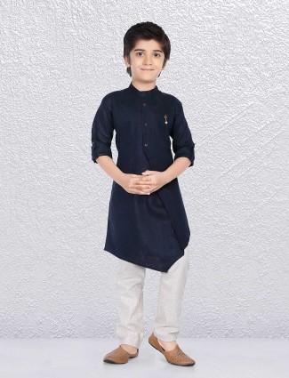 Bandhgala navy kurta suit