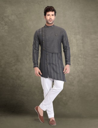 Bandhgala style stripe grey cotton kurta suit