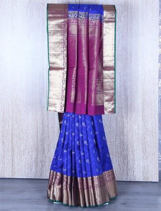 Banglori silk royal blue saree