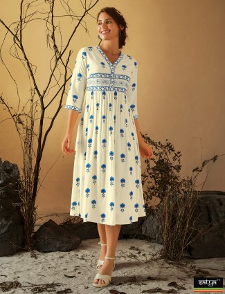 Beautiful cotton printed casual wear kurti in cream